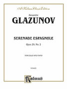 Cover icon of Serenade Espagnole, Op. 20, No. 2 (COMPLETE) sheet music for cello and piano by Alexander Konstantinovich Glazunov