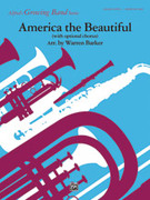 Cover icon of America, the Beautiful, with optional SA/SAB chorus sheet music for concert band (full score) by Anonymous and Warren Barker