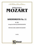 Cover icon of Divertimento No. 11, K. 251 (COMPLETE) sheet music for wind quartet by Wolfgang Amadeus Mozart, classical score, intermediate skill level