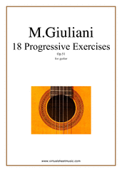 Cover icon of Progressive Exercises, 18 - Op.51 sheet music for guitar solo by Mauro Giuliani