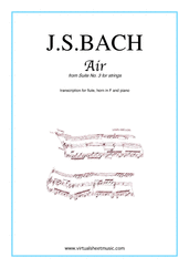 Cover icon of Air from Suite No.3 (on the G string) sheet music for flute, horn and piano by Johann Sebastian Bach, classical score, intermediate skill level