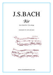 Cover icon of Air from Suite No.3 (on the G string) sheet music for violin and piano by Johann Sebastian Bach, classical score, intermediate
