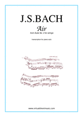 Cover icon of Air from Suite No.3 (on the G string) sheet music for piano solo by Johann Sebastian Bach, classical score, easy/intermediate