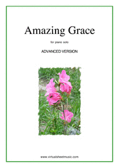 Cover icon of Amazing Grace (advanced version) sheet music for piano solo