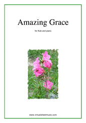 Cover icon of Amazing Grace sheet music for flute and piano, easy skill level