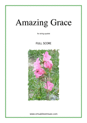 Cover icon of Amazing Grace (f.score) sheet music for string quartet or string orchestra, easy/intermediate