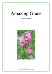 Cover icon of Amazing Grace sheet music for violin and piano, easy