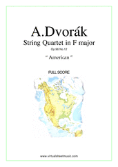 "Cover icon of Quartet Op.96 No.12 ""The American"" (f.score) sheet music for string quartet by Antonin Dvorak, classical score, intermediate/advanced skill level"