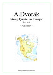 "Cover icon of Quartet Op.96 No.12 ""The American"" (COMPLETE) sheet music for string quartet by Antonin Dvorak, classical score, intermediate/advanced skill level"
