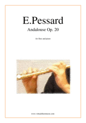 Cover icon of Andalouse Op. 20 sheet music for flute and piano by Emile Pessard, classical score, intermediate skill level