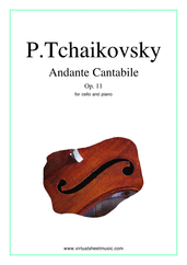 Cover icon of Andante Cantabile, Op.11 sheet music for cello and piano by Pyotr Ilyich Tchaikovsky