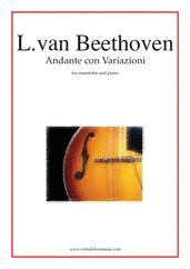 Cover icon of Andante con Variazioni sheet music for mandolin and piano by Ludwig van Beethoven, classical score, intermediate skill level