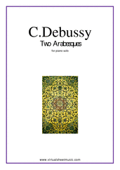 Cover icon of Two Arabesques sheet music for piano solo by Claude Debussy, classical score, intermediate