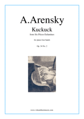 Cover icon of Six Pieces Enfantines Op.34 No.2 - Kuckuck sheet music for piano four hands by Anton Arensky, classical score, intermediate skill level