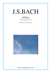 Cover icon of Arioso sheet music for violin and piano by Johann Sebastian Bach, classical wedding score, intermediate violin