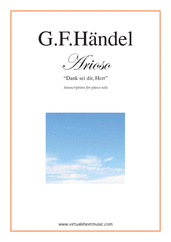 Cover icon of Arioso - Dank sei dir, Herr sheet music for piano solo by George Frideric Handel, classical wedding score, easy/intermediate