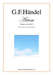 Cover icon of Arioso - Dank sei dir, Herr sheet music for violin and piano by George Frideric Handel, classical wedding score, easy skill level