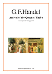 Cover icon of Arrival of the Queen of Sheba sheet music for string quartet by George Frideric Handel, classical wedding score, easy/intermediate