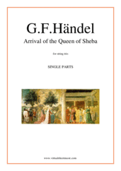 Cover icon of Arrival of the Queen of Sheba (parts) sheet music for string trio by George Frideric Handel, classical wedding score, easy/intermediate