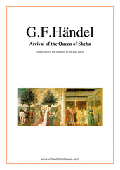 Cover icon of Arrival of the Queen of Sheba sheet music for trumpet and piano by George Frideric Handel, classical wedding score, intermediate skill level