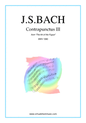 Cover icon of The Art of the Fugue, BWV 1080 - Contrapunctus III sheet music for piano solo (organ or harpsichord) by Johann Sebastian Bach