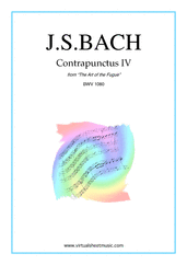 Cover icon of The Art of the Fugue, BWV 1080 - Contrapunctus IV sheet music for piano solo (organ or harpsichord) by Johann Sebastian Bach, classical score, intermediate piano (organ or harpsichord)