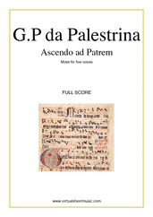 Cover icon of Ascendo ad Patrem (COMPLETE) sheet music for five voices or choir by Giovanni Perluigi Da Palestrina, classical score, intermediate