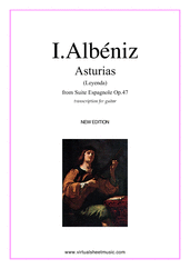 Asturias (Leyenda) for guitar solo - classical guitar sheet music
