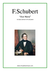 Cover icon of Ave Maria sheet music for bass clarinet and piano by Franz Schubert, classical wedding score, intermediate bass