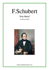 Cover icon of Ave Maria sheet music for flute and piano by Franz Schubert, classical wedding score, easy/intermediate skill level