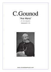 Cover icon of Ave Maria (in G for soprano) sheet music for voice and piano by Charles Gounod, classical wedding score, easy/intermediate skill level