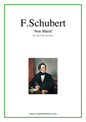 Cover icon of Ave Maria sheet music for tuba in Eb and piano by Franz Schubert, classical wedding score, intermediate