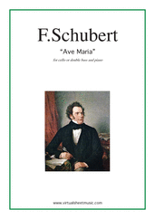 Cover icon of Ave Maria sheet music for cello or double-bass and piano by Franz Schubert, classical wedding score, intermediate cello