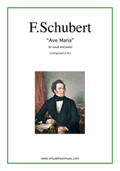 Cover icon of Ave Maria (in Bb for soprano) sheet music for voice and piano by Franz Schubert, classical wedding score, intermediate
