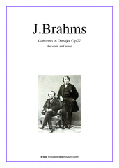 Cover icon of Concerto in D major Op.77 sheet music for violin and piano by Johannes Brahms, classical score, advanced skill level