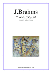 Cover icon of Trio No.2 Op.87 sheet music for violin, cello and piano by Johannes Brahms, classical score, advanced