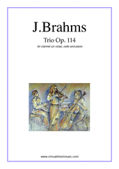 Cover icon of Trio Op.114 sheet music for clarinet (viola), cello and piano by Johannes Brahms, classical score, intermediate/advanced clarinet