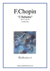 Cover icon of Ballades Op.47 and Op.52 (coll. 2) sheet music for piano solo by Frederic Chopin, classical score, advanced skill level