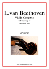 Cover icon of Concerto in D major Op.61 sheet music for violin and piano by Ludwig van Beethoven, classical score, advanced skill level