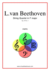Cover icon of Quartet Op.18 No.1 in F major (parts) sheet music for string quartet by Ludwig van Beethoven, classical score, advanced string quartet
