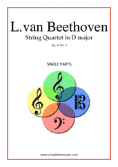 Cover icon of Quartet Op.18 No.3 in D major (parts) sheet music for string quartet by Ludwig van Beethoven, classical score, advanced skill level