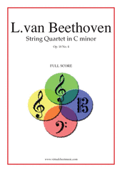 Cover icon of Quartet Op.18 No.4 in C minor (f.score) sheet music for string quartet by Ludwig van Beethoven, classical score, advanced