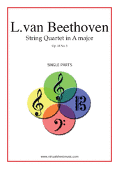 Cover icon of Quartet Op.18 No.5 in A major (parts) sheet music for string quartet by Ludwig van Beethoven, classical score, advanced