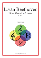 Cover icon of Quartet Op.18 No.5 in A major (f.score) sheet music for string quartet by Ludwig van Beethoven, classical score, advanced skill level