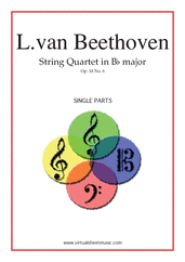 Cover icon of Quartet Op.18 No.6 in Bb major (parts) sheet music for string quartet by Ludwig van Beethoven, classical score, advanced