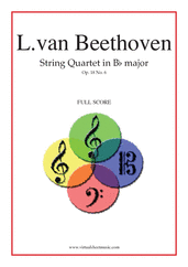 Cover icon of Quartet Op.18 No.6 in B major (f.score) sheet music for string quartet by Ludwig van Beethoven, classical score, advanced