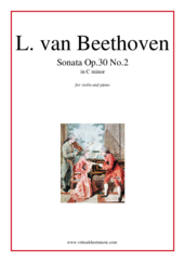 Cover icon of Sonata Op.30 No.2 sheet music for violin and piano by Ludwig van Beethoven, classical score, intermediate skill level