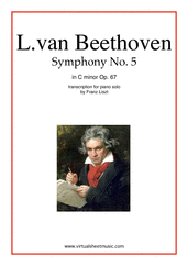 Cover icon of Symphony No.5 in C minor Op.67 sheet music for piano solo by Ludwig van Beethoven, classical score, advanced