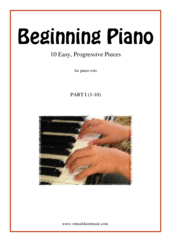 Cover icon of Beginning Piano, part I sheet music for piano solo, classical score, beginner skill level