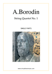 Cover icon of Quartet No.1 in A major (parts) sheet music for string quartet by Alexander Borodin, classical score, advanced string quartet